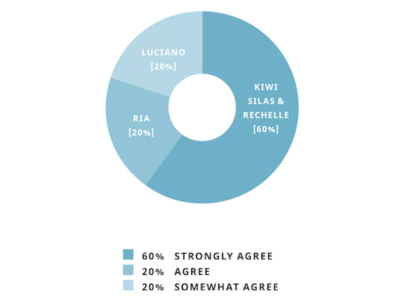 """A pie graph showing responses. Kiwi, Silas and Rechelle responded """"strongly agree""""; Ria responded """"agree""""; Luciano responded """"somewhat agree""""."""