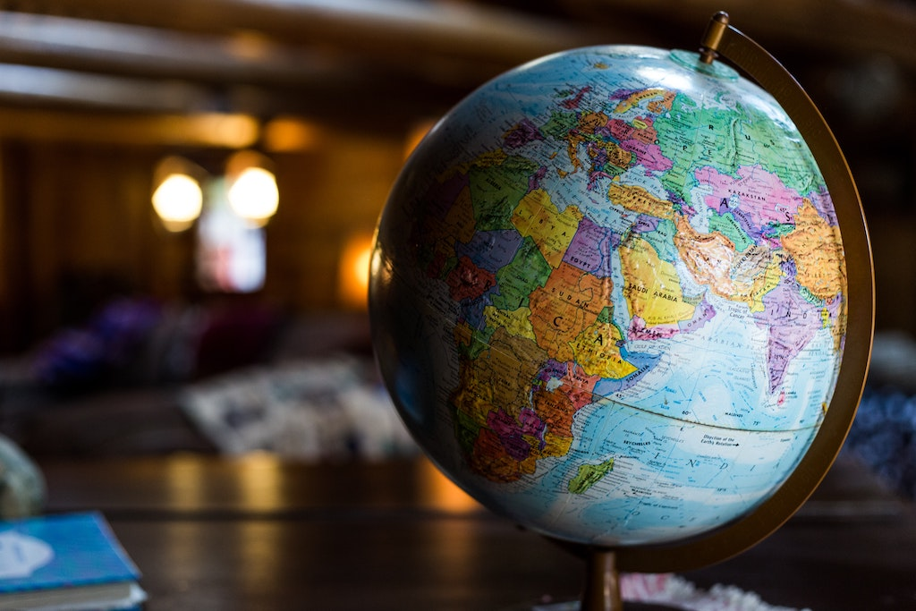 A picture of a classroom globe, turned to East Africa, the Middle East, eastern Europe and West Asia.