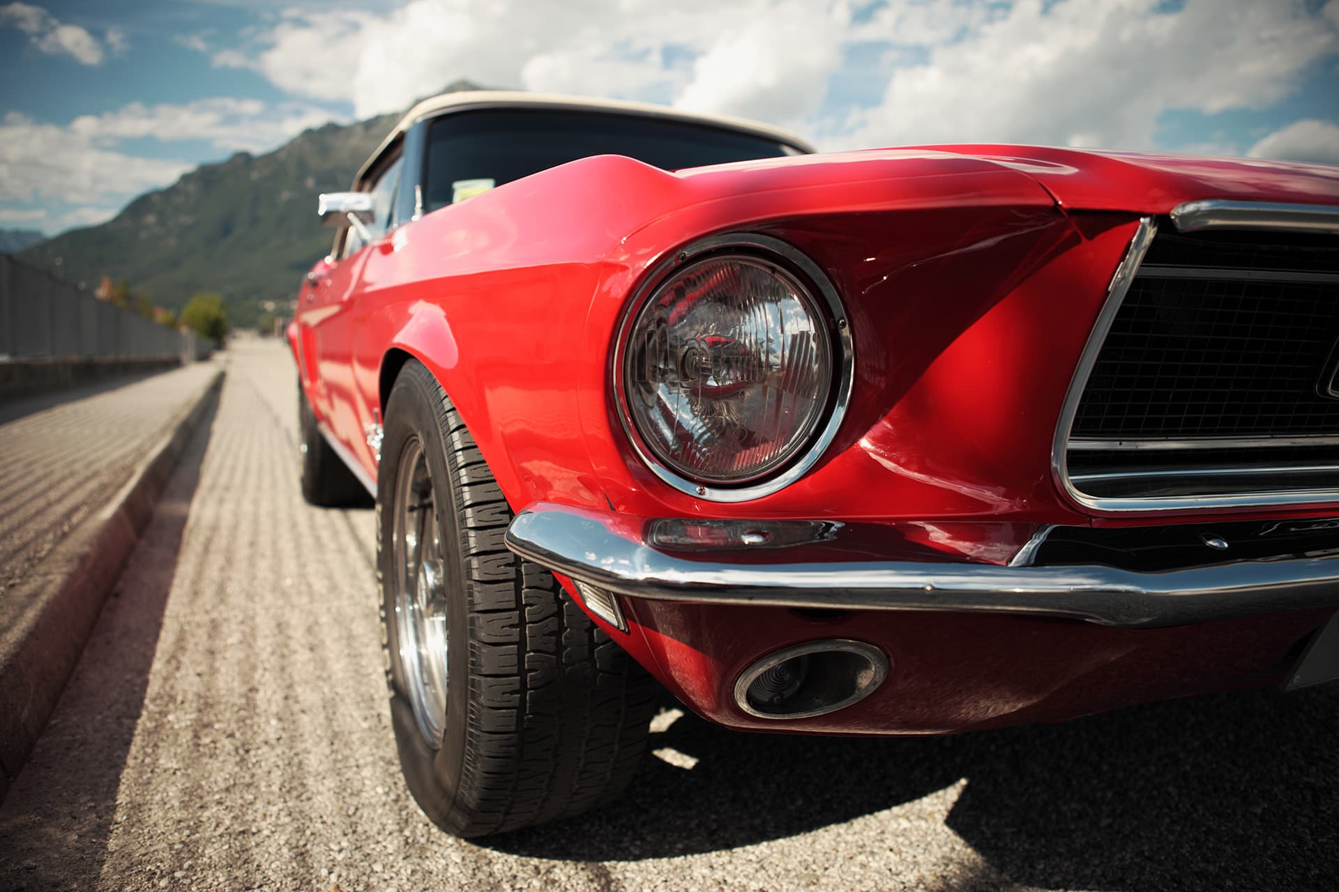 Classic car insurance for red vintage mustang