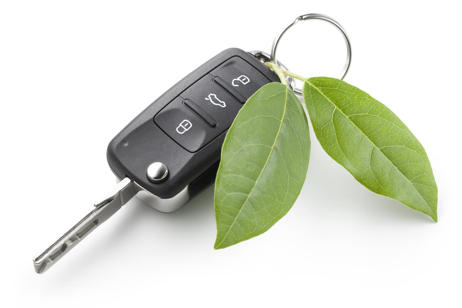 Car key and two green leafs for cars with electric vehicle insurance