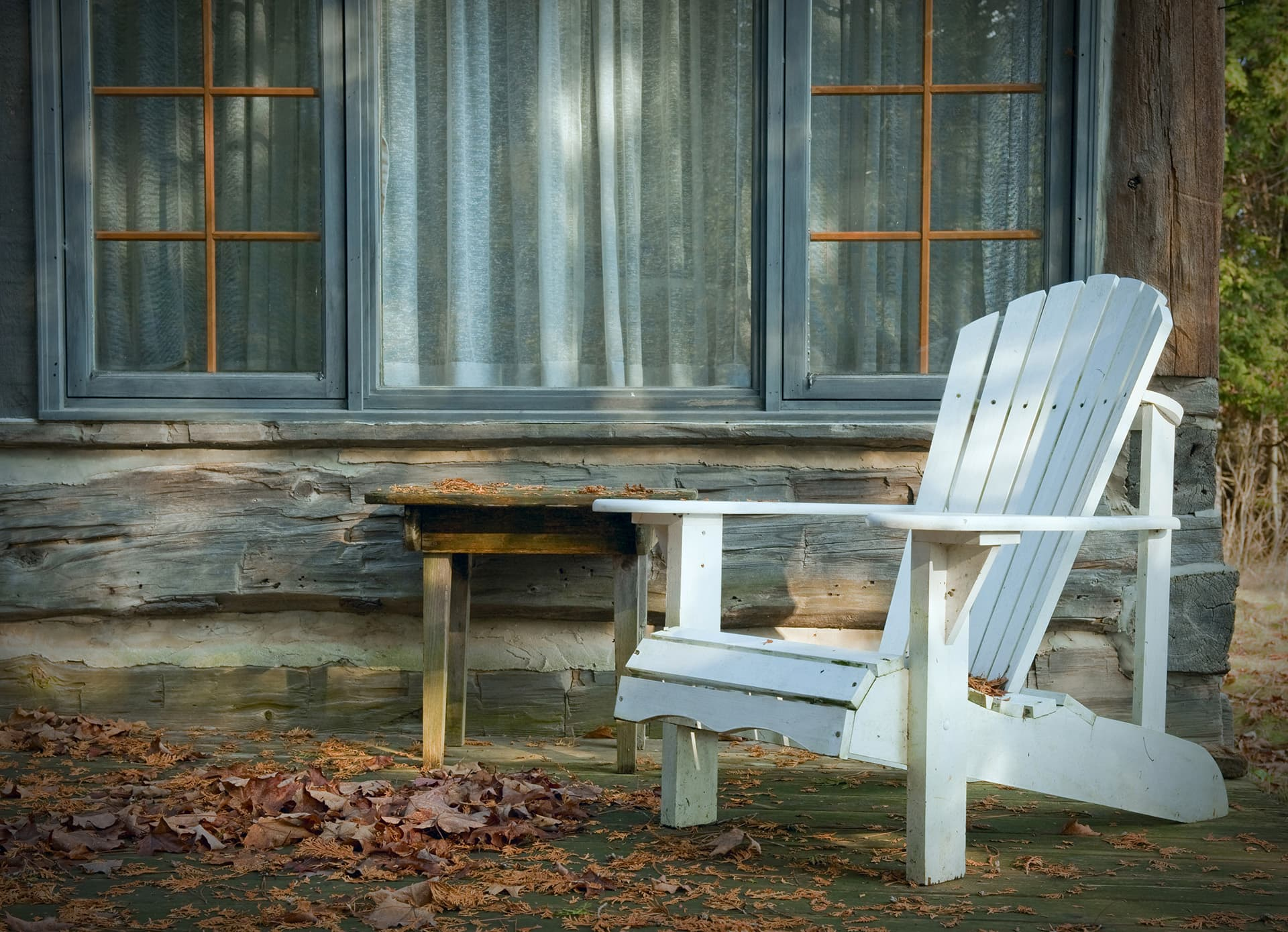 Seasonal insurance for cottage with Muskoka chair out front