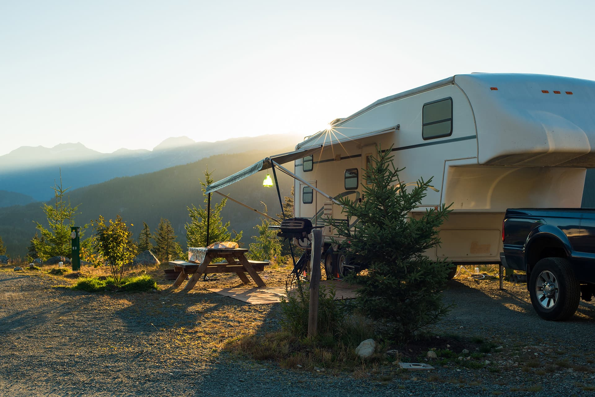RV & motorhome insurance for trailer parked at a camp site in the mountains