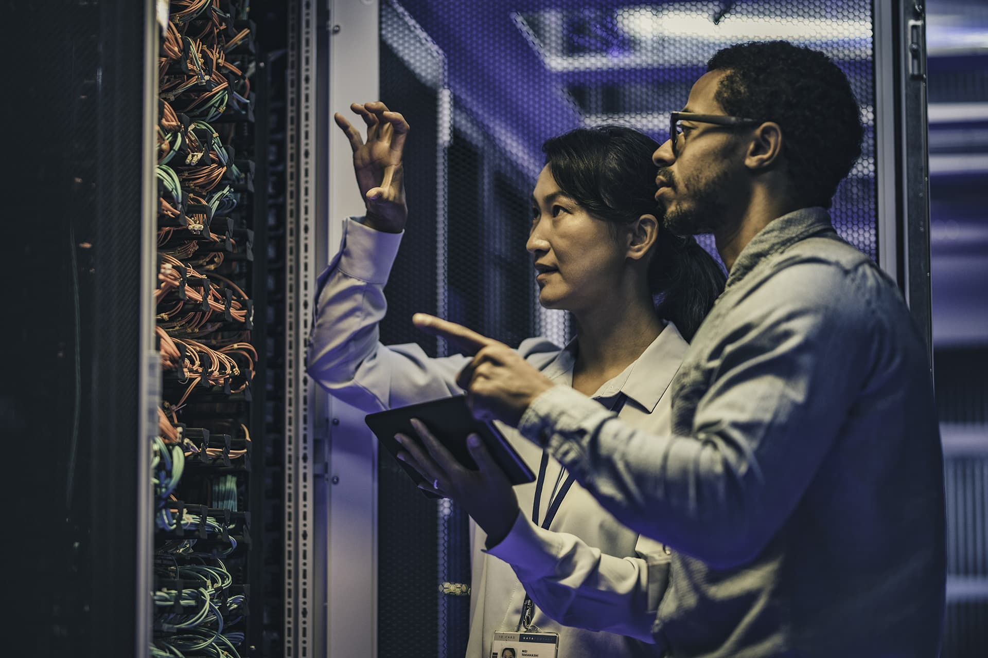 Web developers finding a problem in the data centre