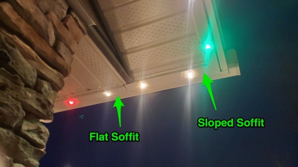 How do you transition from a sloped soffit to a flat?