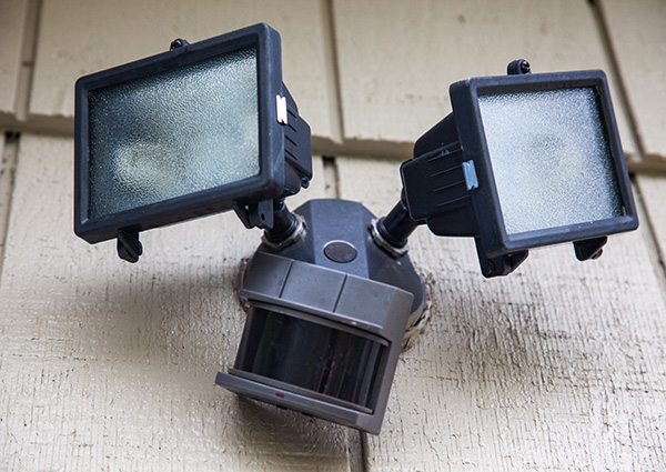 Exterior security lighting with motion sensor