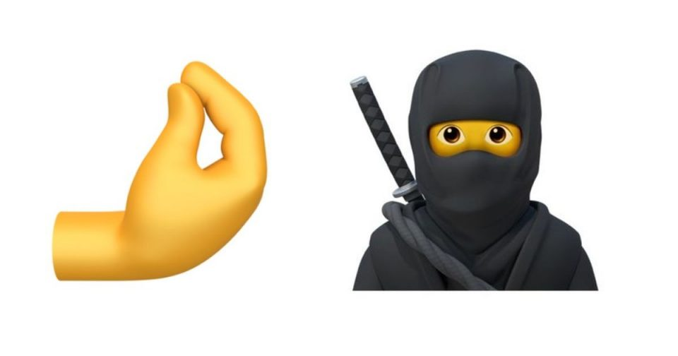 New emoji in iOS 14 include ninja and pinched fingers