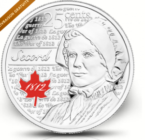 25 cents de la Monnaie royale canadienne rend hommage à Laura Secord,