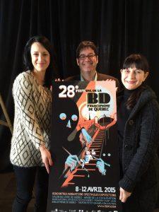 es comédiennes Anne-Élisabeth Bossé et Lise Castonguay, ambassadrices du 28e FBDFQ entourent Thomas-Louis Côté, Directeur Général  © photo: courtoisie