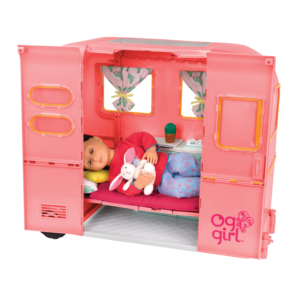 RV Seeing You Camper Pink with Willow sleeping