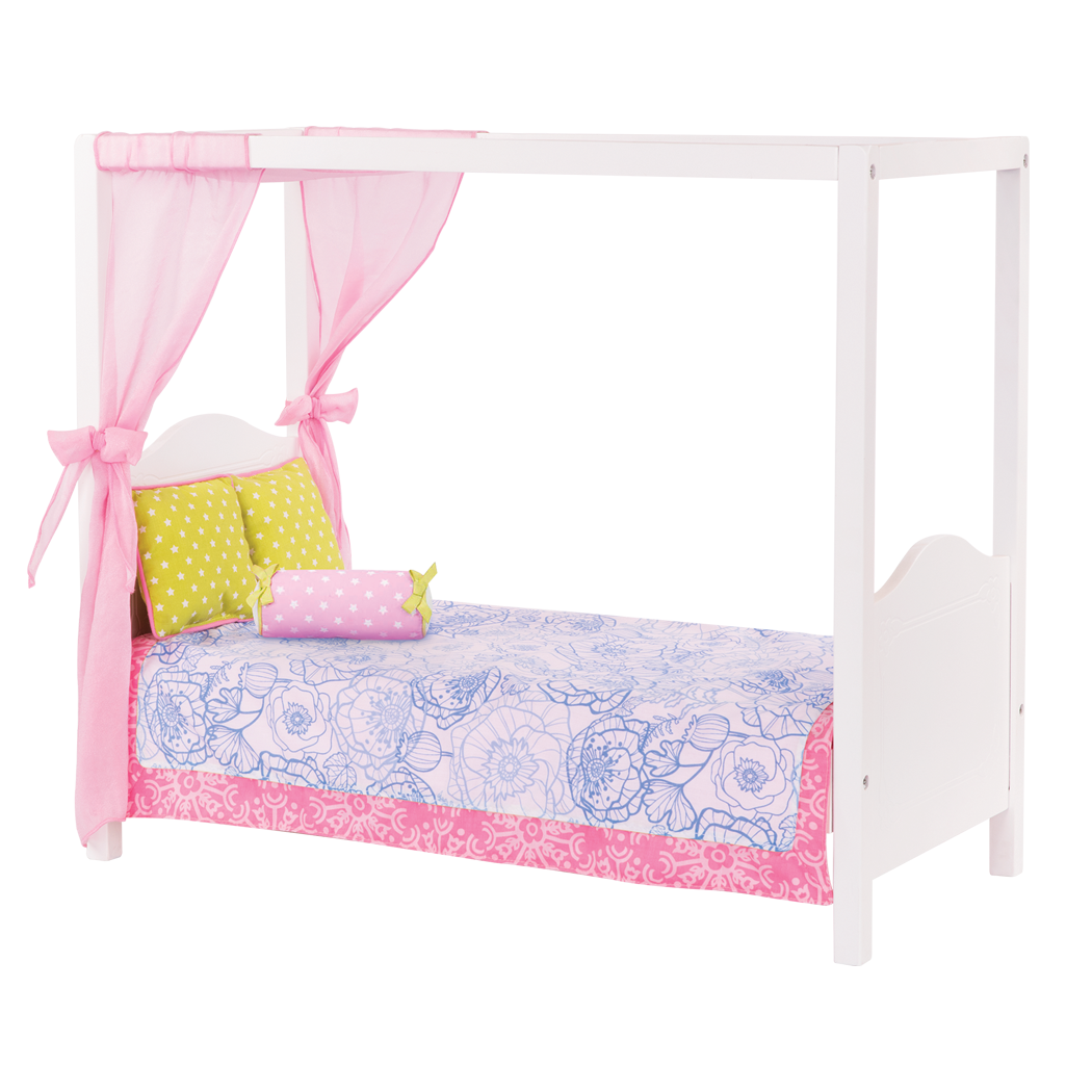 My Sweet Canopy Bed – Blue Floral bed for 18-inch Dolls