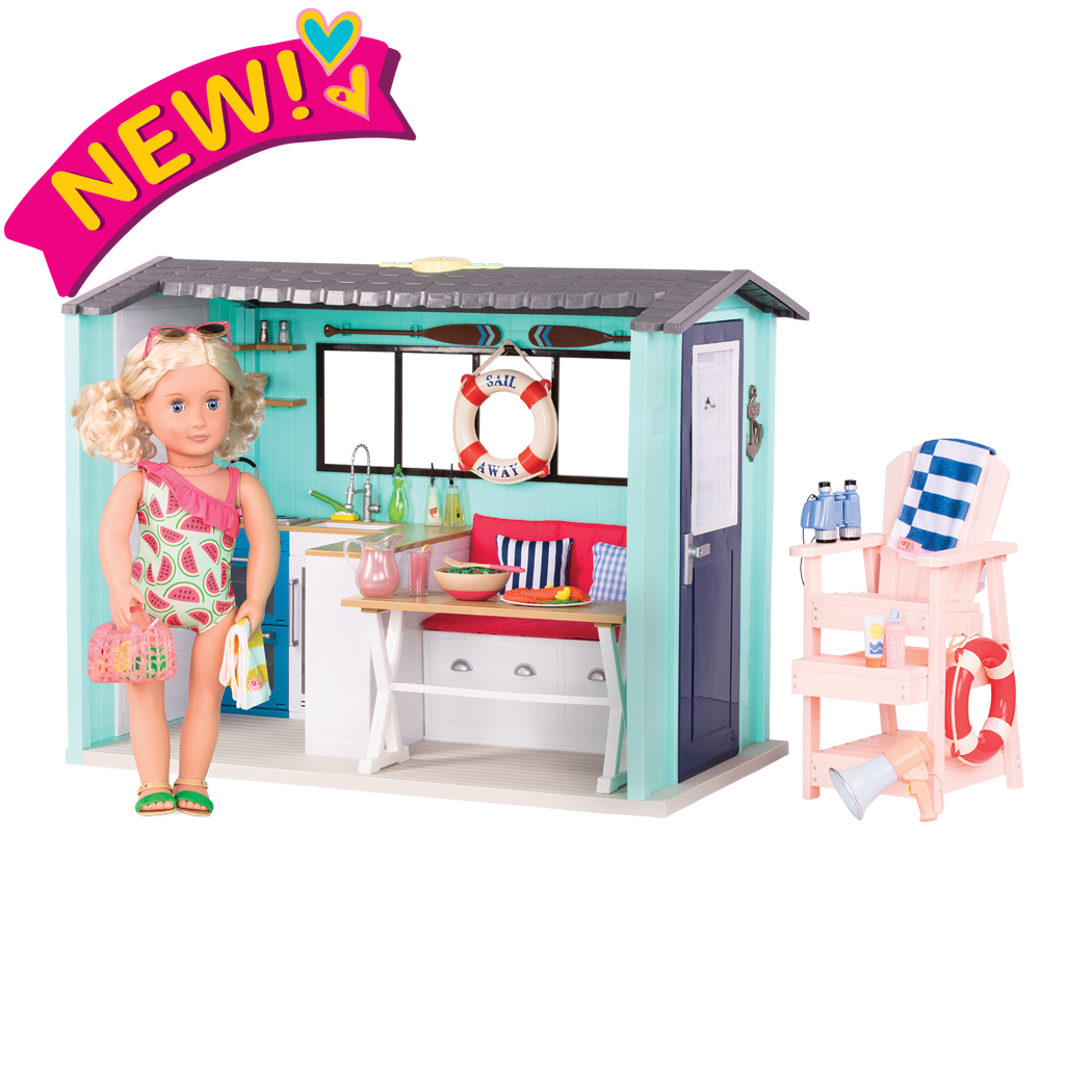 Seaside Beach House Deluxe Beach House Bundle featuring Clarissa 18-inch doll, house, lifeguard set, outfits, and more!