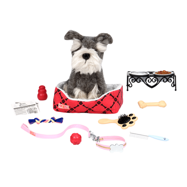 Schnauzer pup sitting in bed