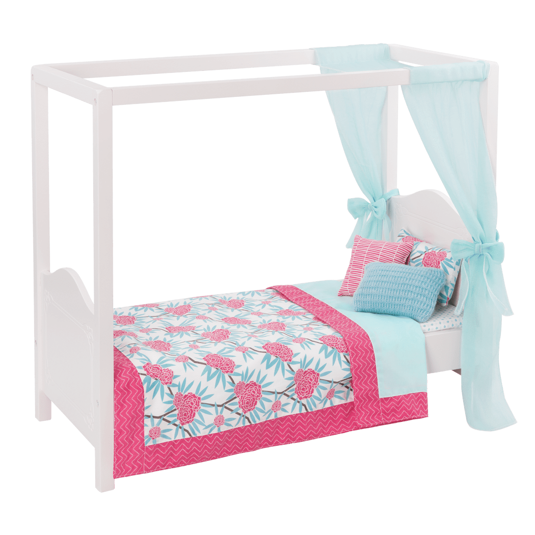 My Sweet Canopy Bed – Blue and Pink bed for 18-inch Dolls