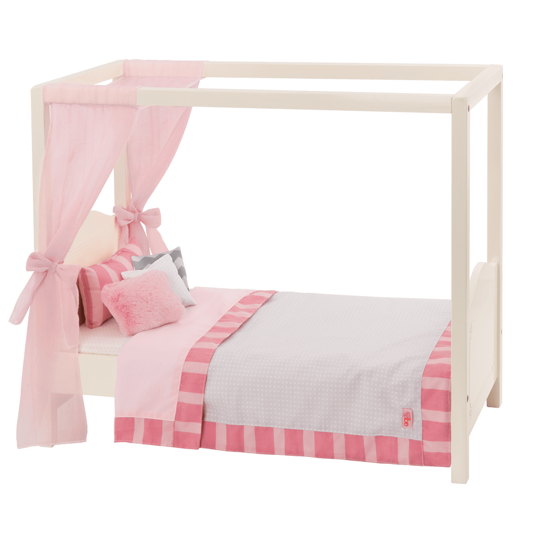 My Sweet Canopy Bed - Pink and White bed for 18-inch Dolls