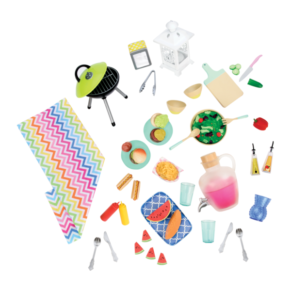 Detail of picnic food and accessories