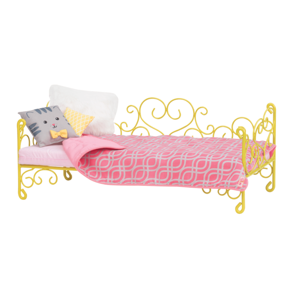 Sweet Dreams Scrollwork Bed - Cat for 18-inch Dolls
