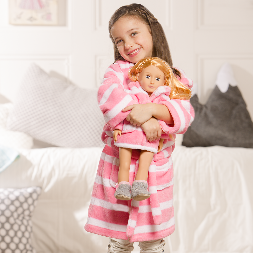 Me and You fleece bathrobe with child and doll