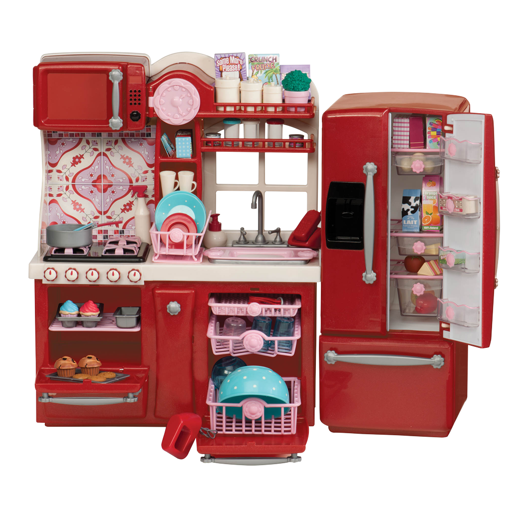 Red Gourmet Kitchen Playset for 18-inch Dolls