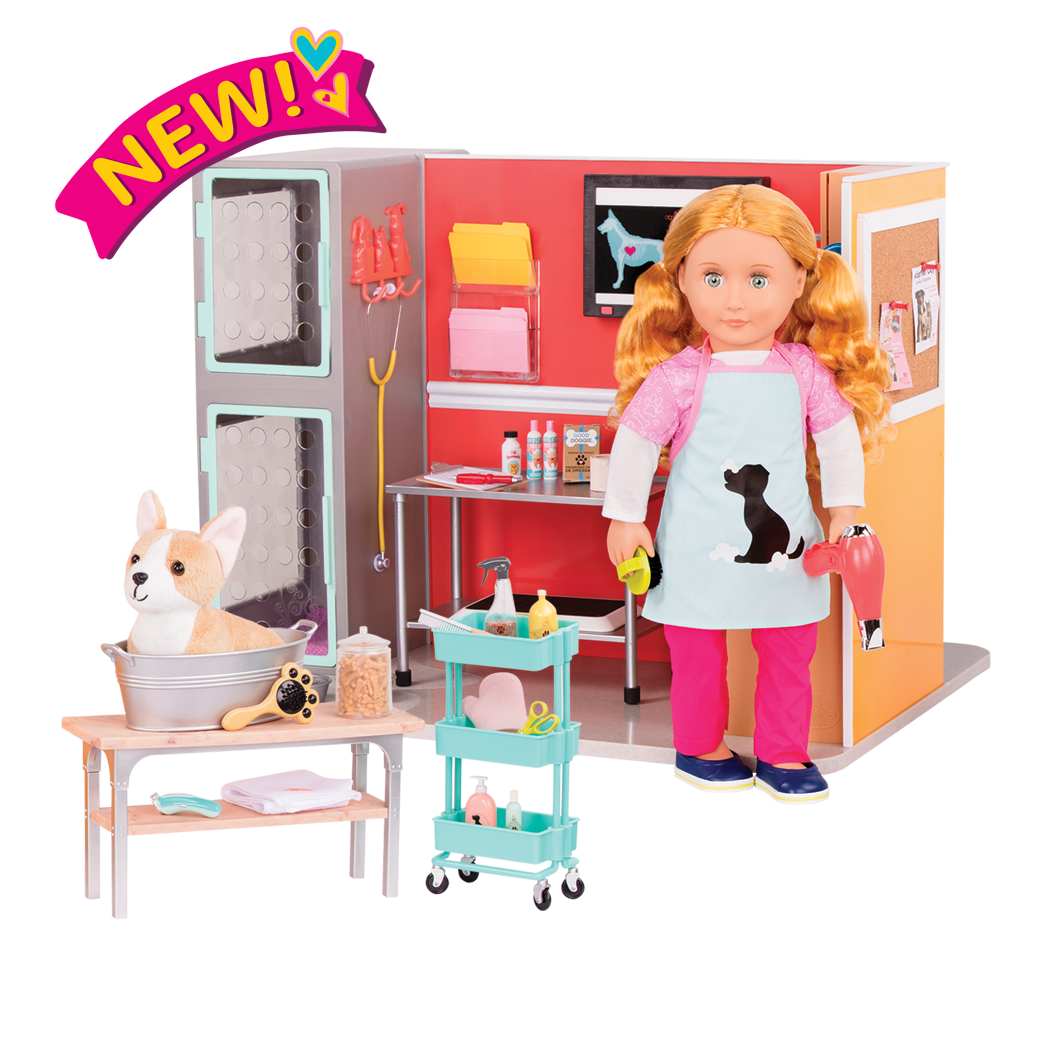 18-inch Doll vet clinic playset with vet clinic, puppy, accessories, grooming salon, and doll