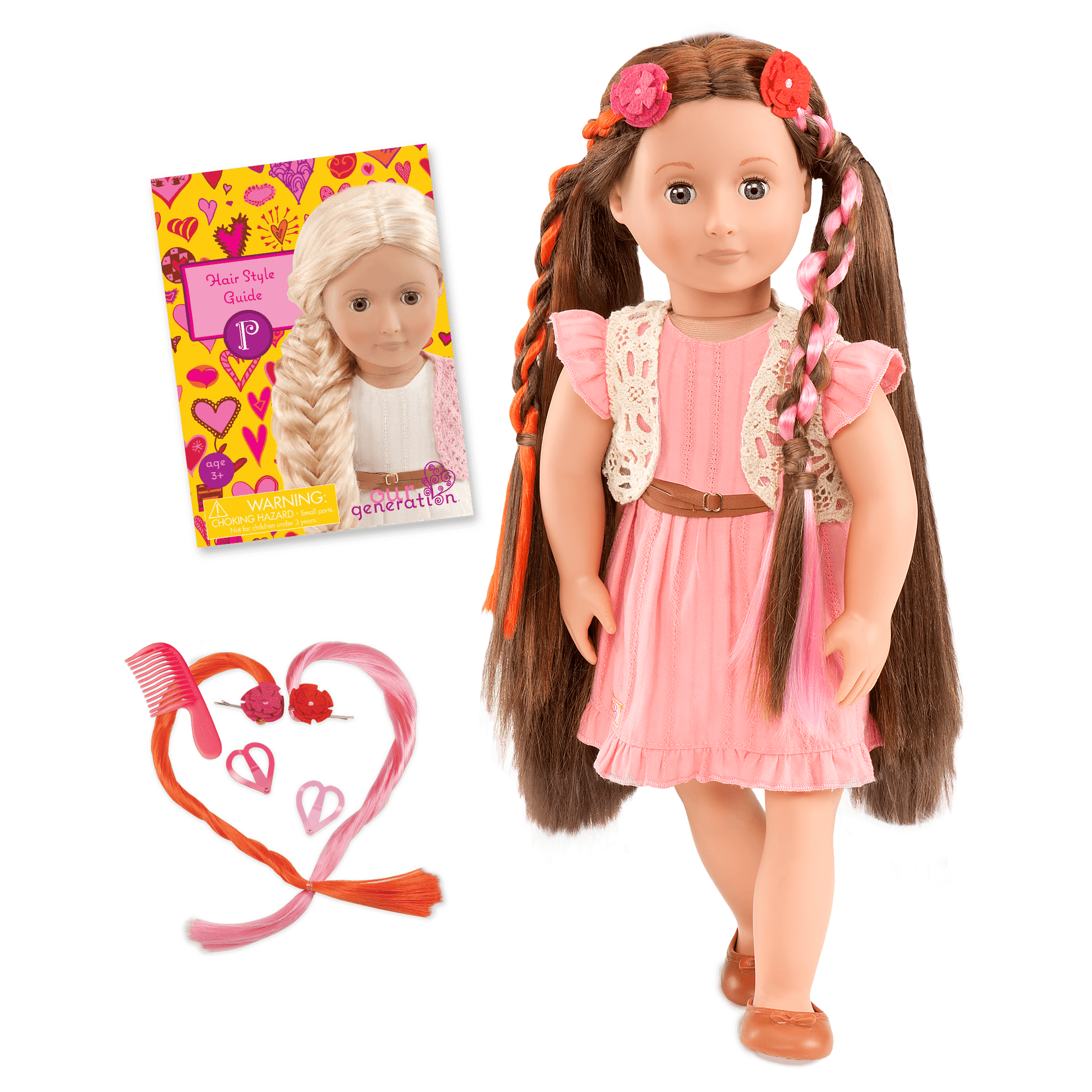 Parker 18-inch Hairplay Doll with Pink Dress