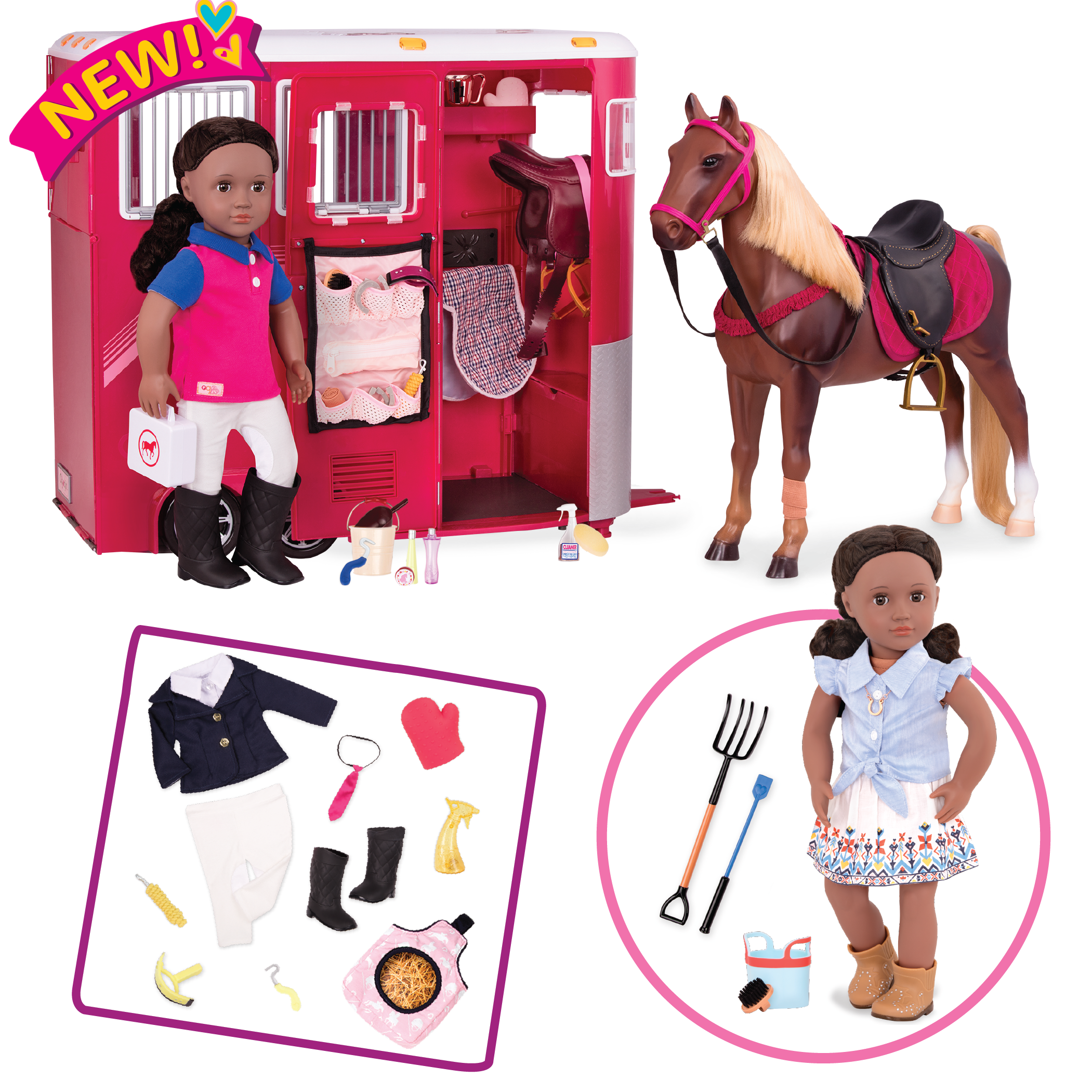18-inch Doll riding set equestrian playset with horse trailer, horse, and posable doll