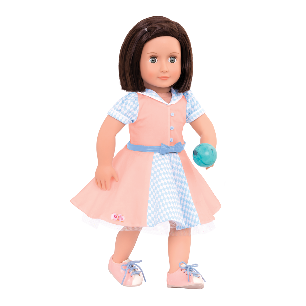 Bowling Belle retro outfit Everly doll holding ball