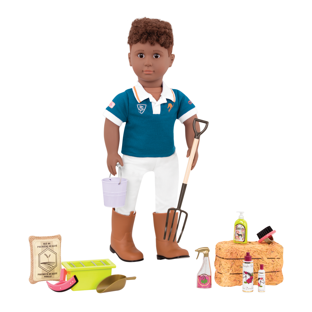Hay and Neigh Horse care Set with Tyler doll holding pitchfork