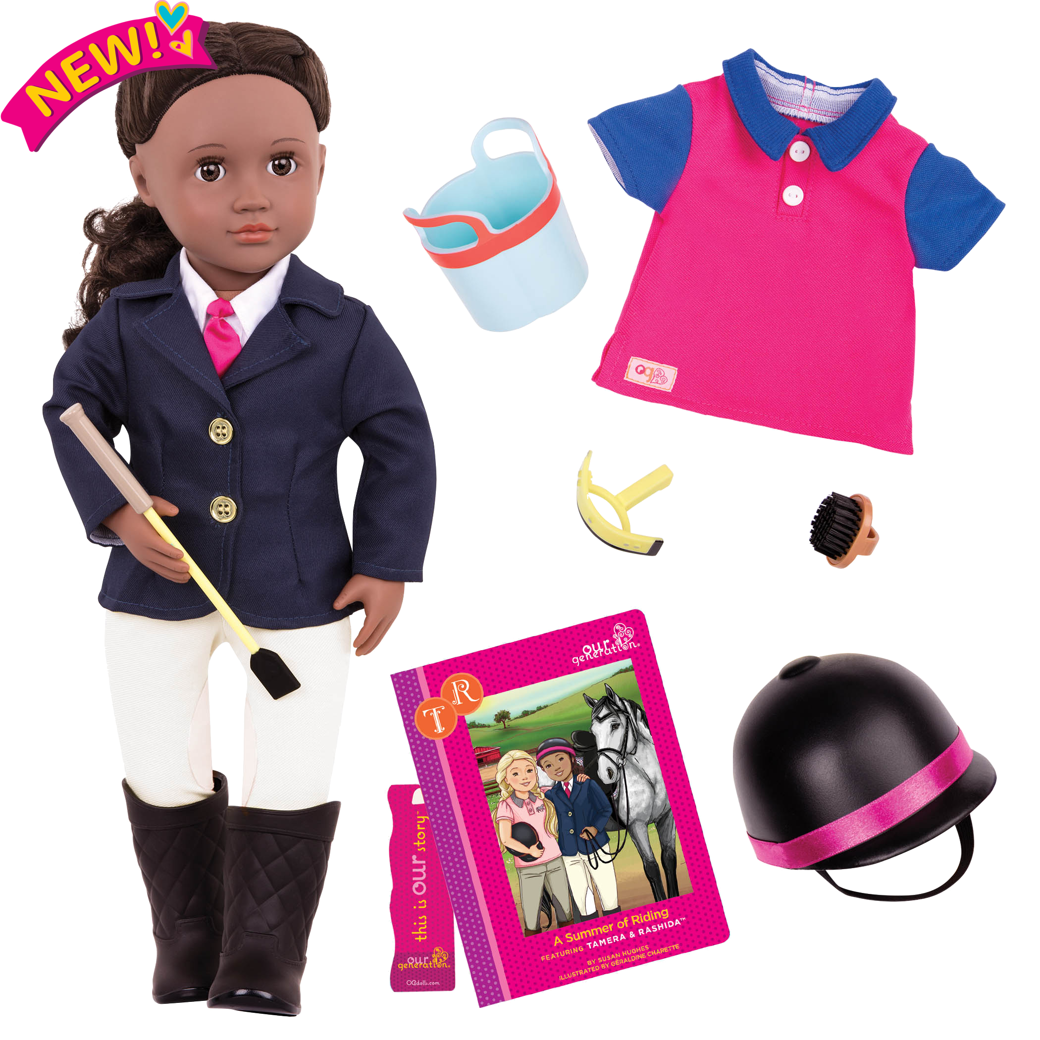 Rashida Deluxe 18-inch Riding Doll with Storybook
