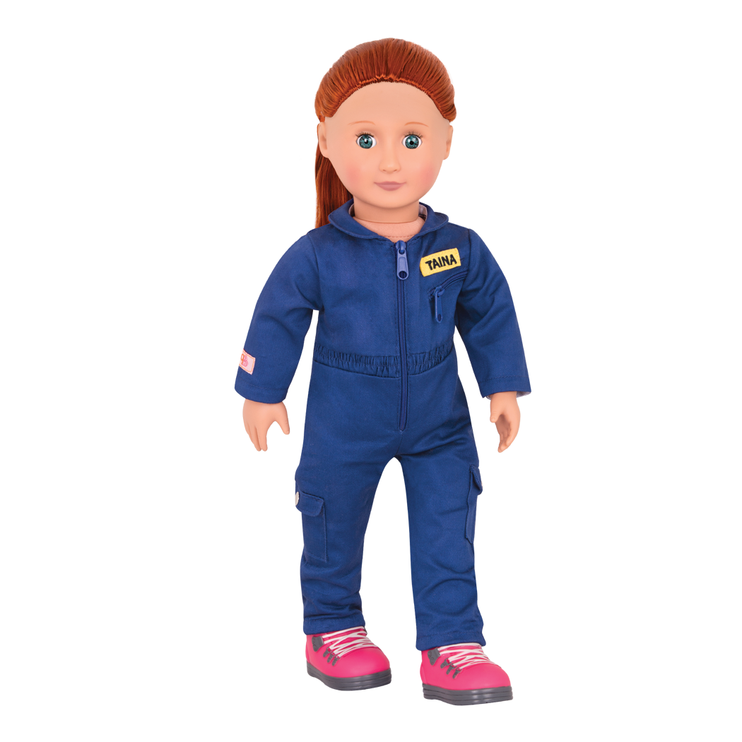 Taina wearing blue space suit