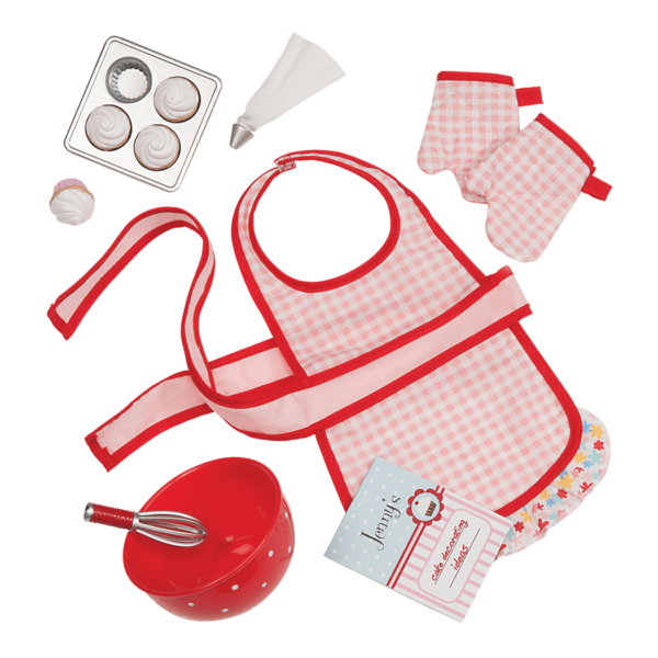 Jenny's baking outfit and supplies