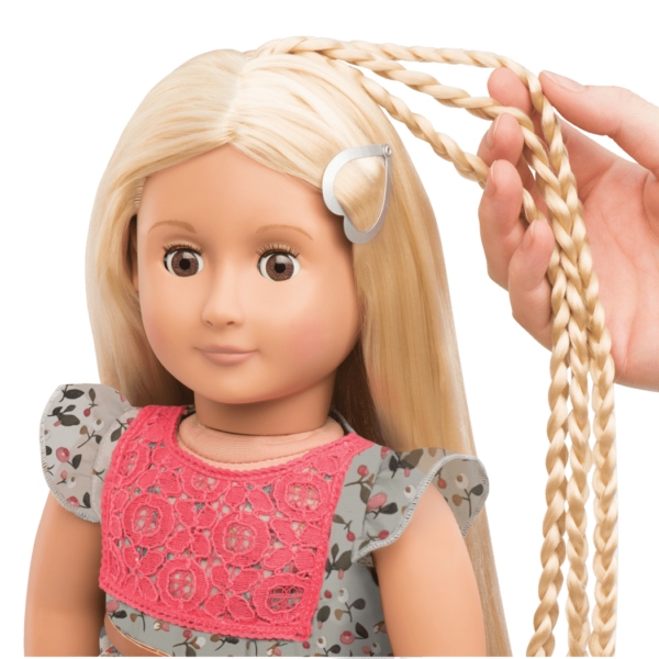 BD31072 Phoebe Floral Dress Hairplay Doll hair extensio2