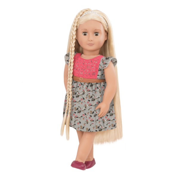 BD31072 Phoebe Floral Dress Hairplay Doll standing up