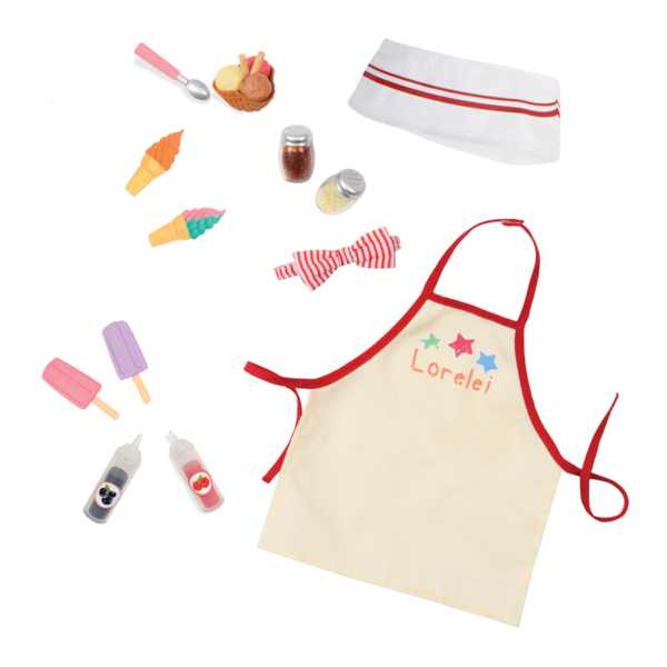 Detail of ice cream outfit and accessories