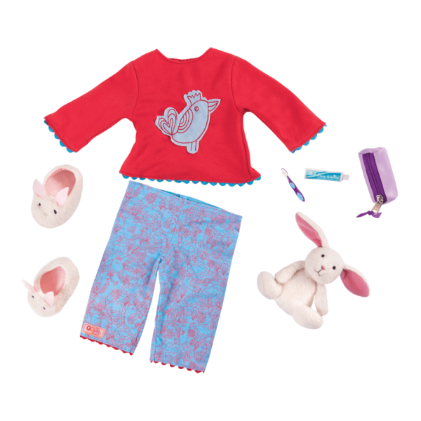 Detail of pajamas and accessories