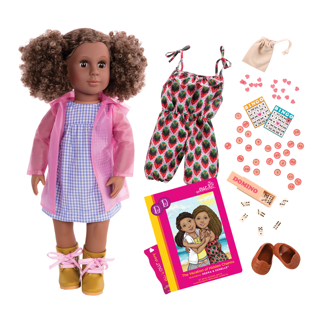Denelle 18-inch Deluxe Doll with Rain Gear and Storybook