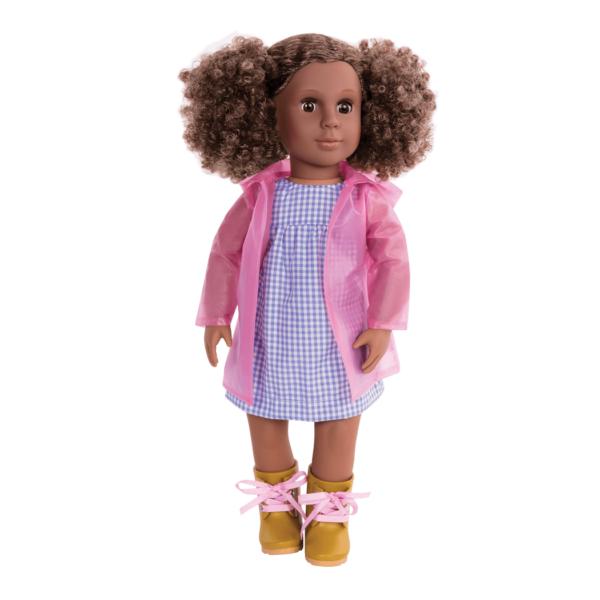 Denelle wearing rain-outfit