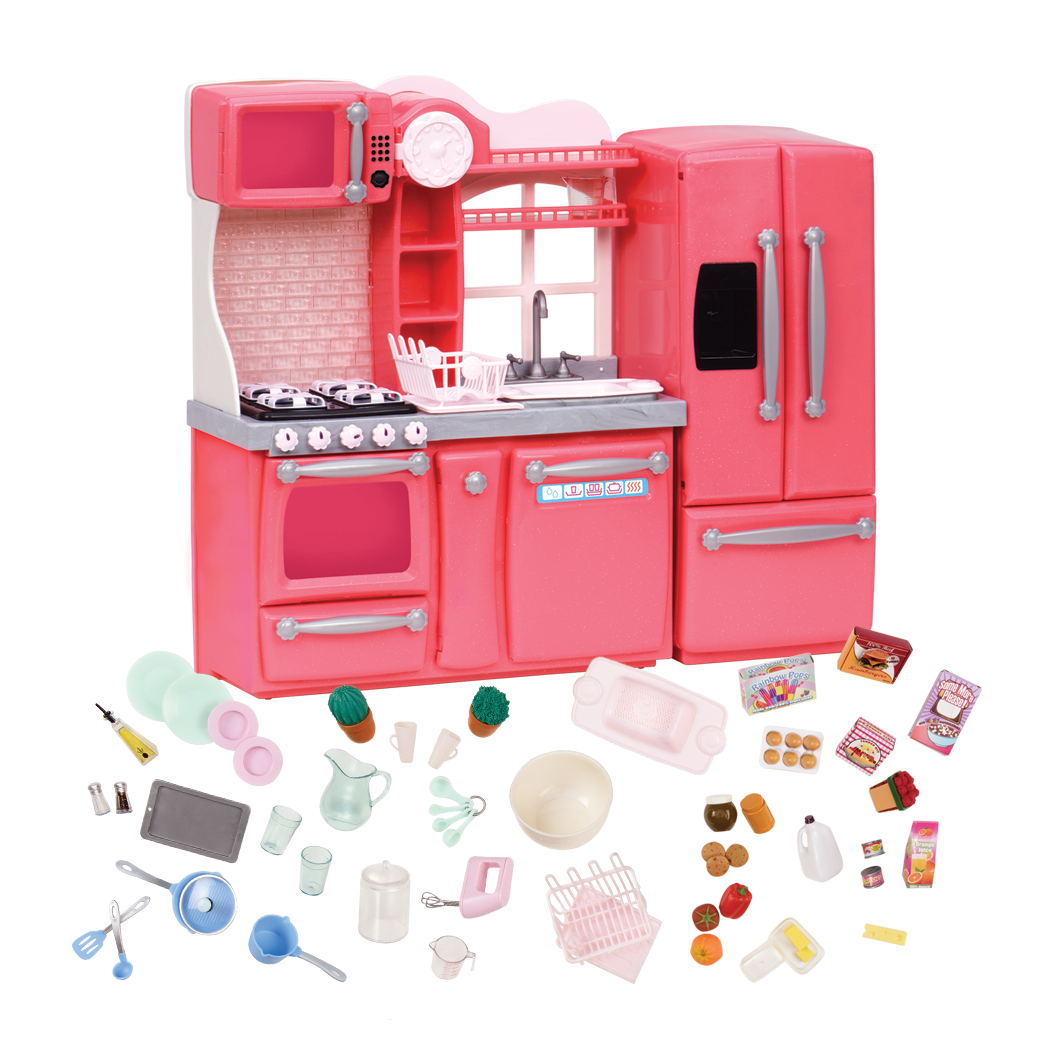 Pink Gourmet Kitchen Playset for 18-inch Dolls