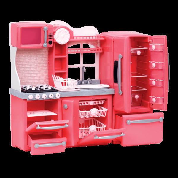 Gourmet Kitchen Set Pink appliances with open doors