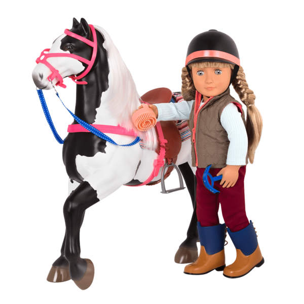 American Paint Horse with Lorelei doll brushing