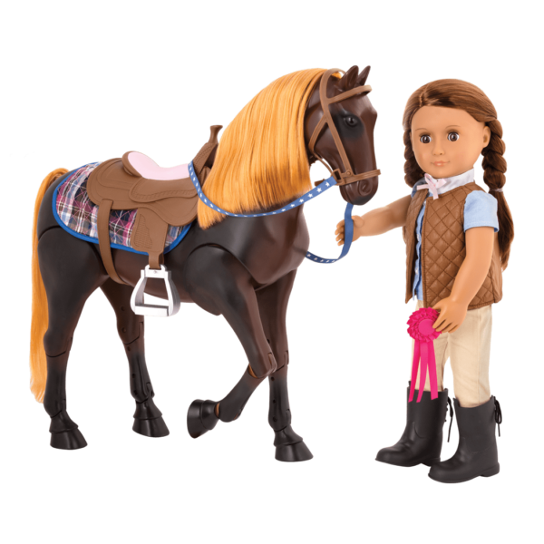 Posable Thoroughbred Horse with Catarina doll walking