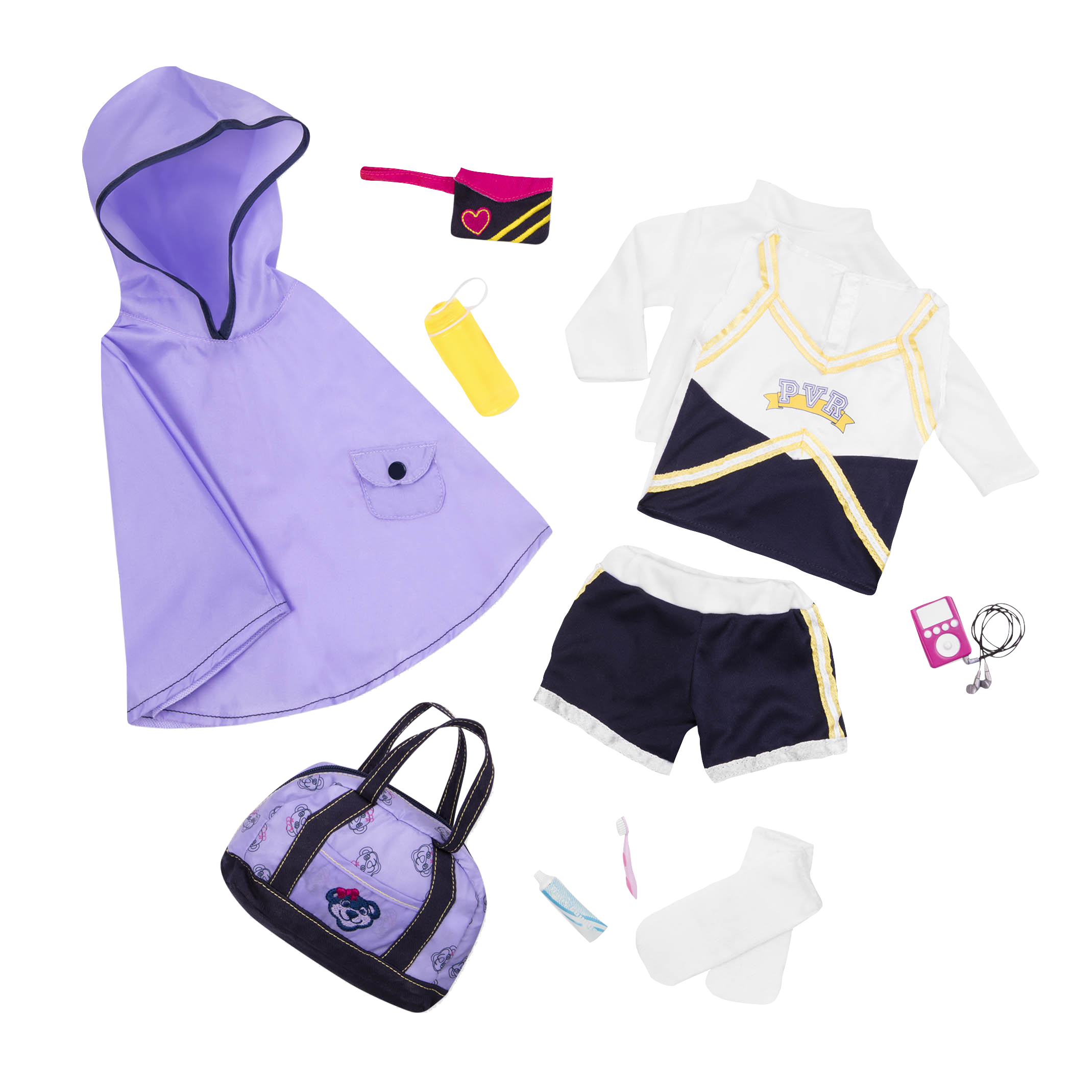 Cheerleader Camp Accessory Set for 18-inch Dolls