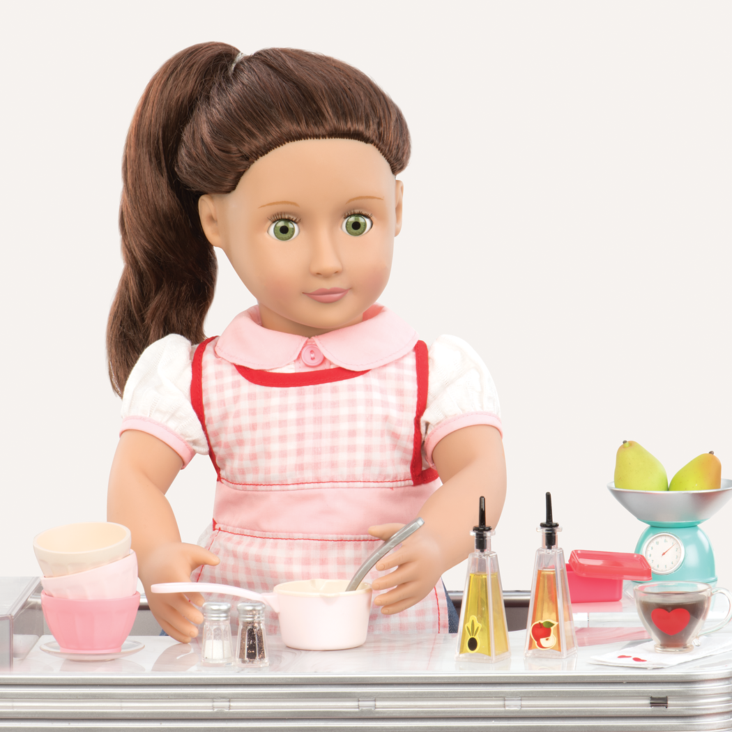 Cute As Pie Kitchen Playset Sydney Lee doll playing