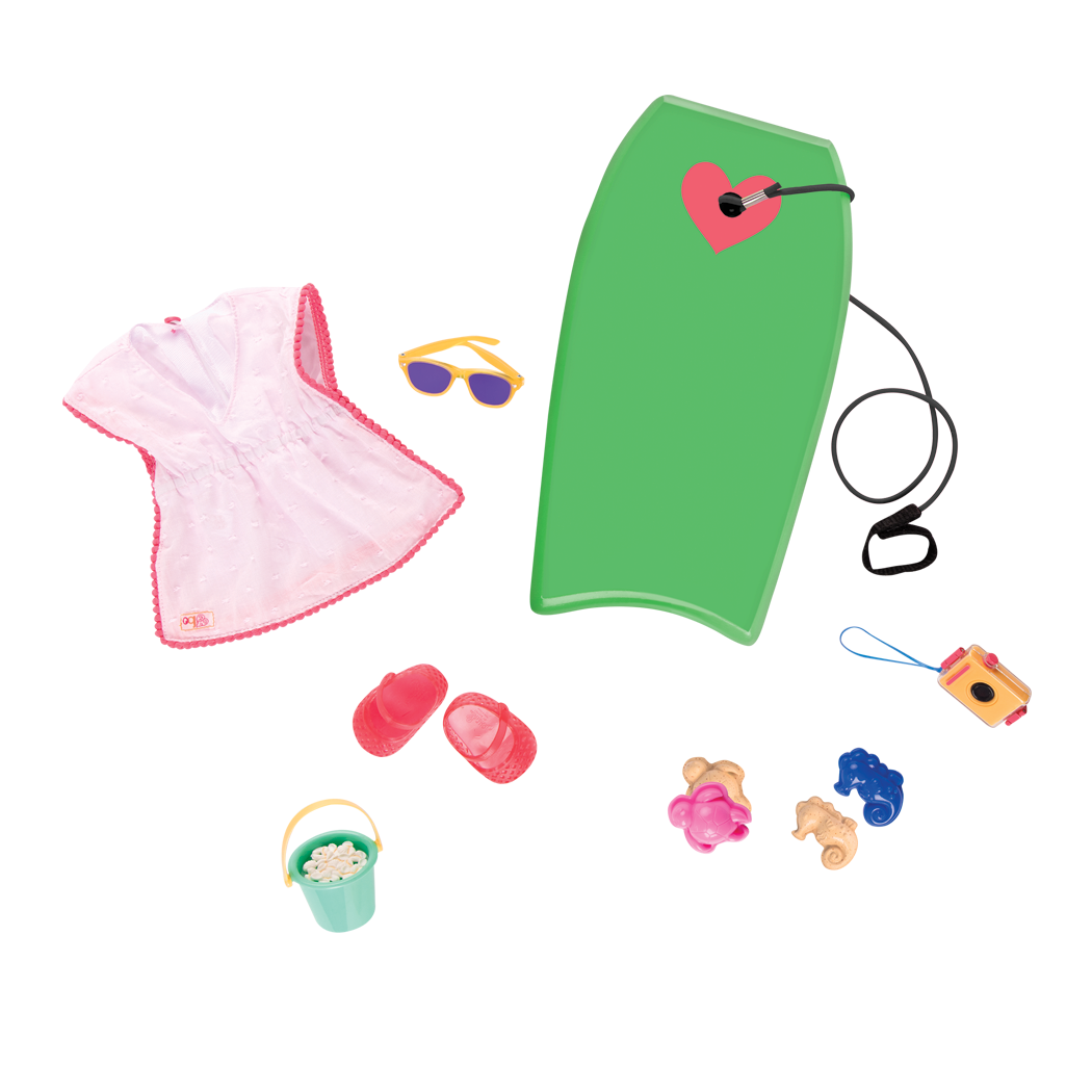 Detail of beach outfit and accessories