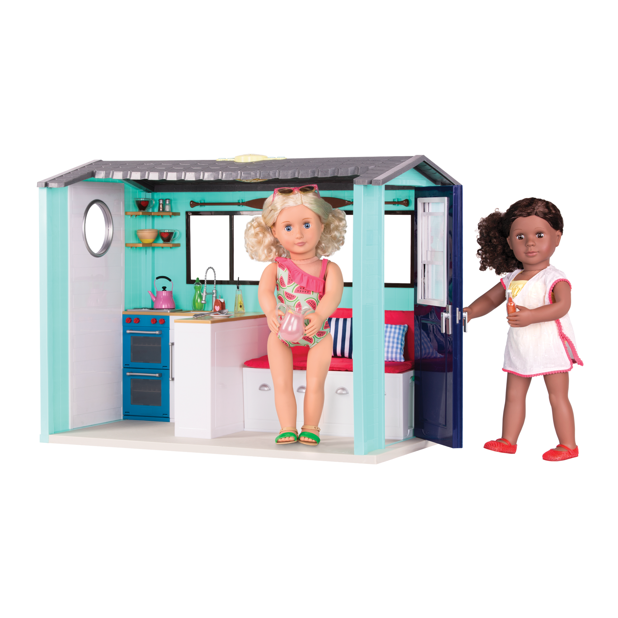 Clarissa and Dedra playing in Seaside Beach House