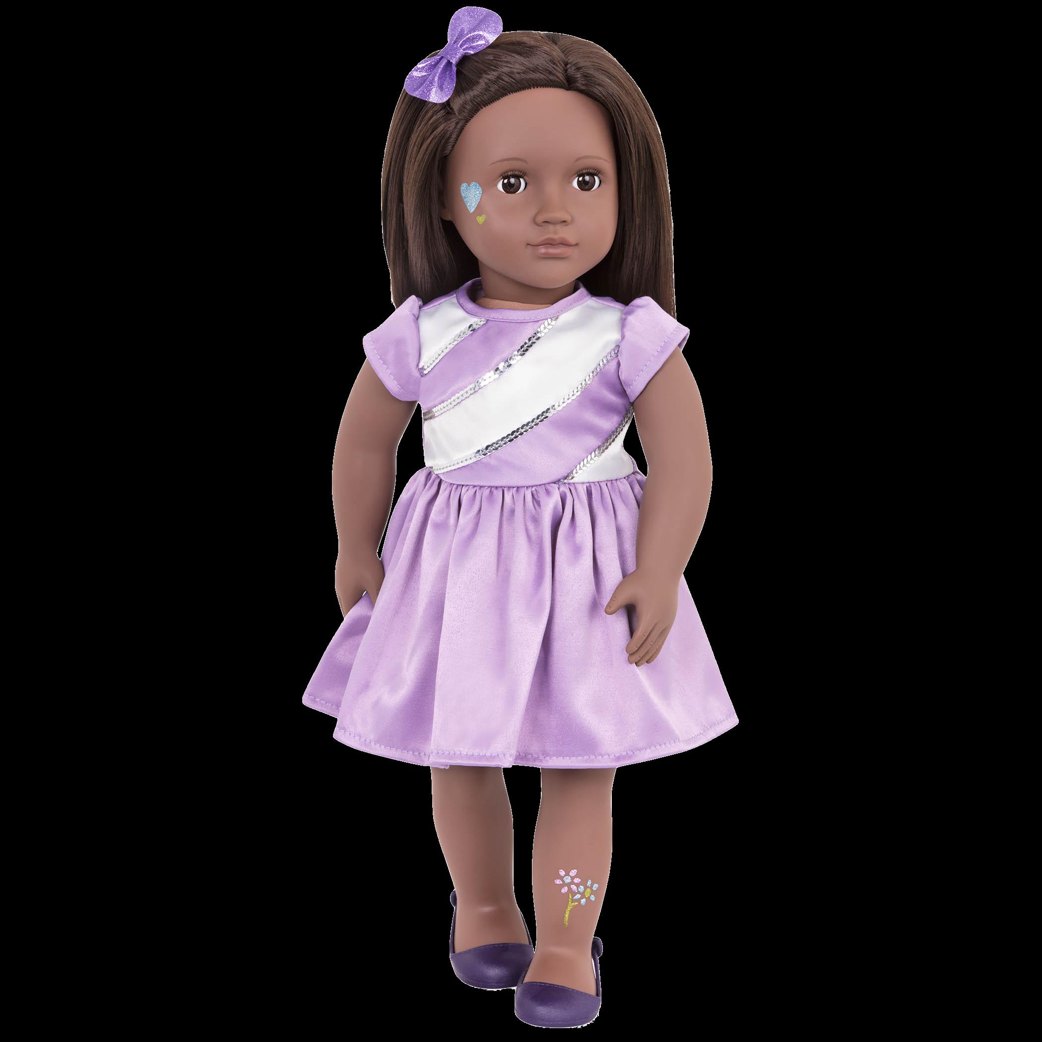 Shyanne wearing purple satin dress