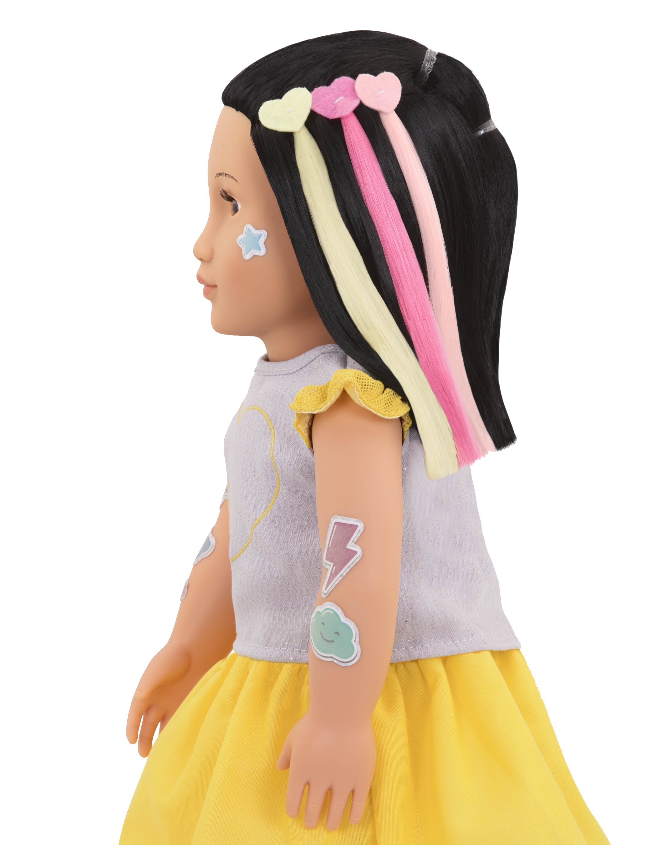 Side profile of Aisha with hair extensions