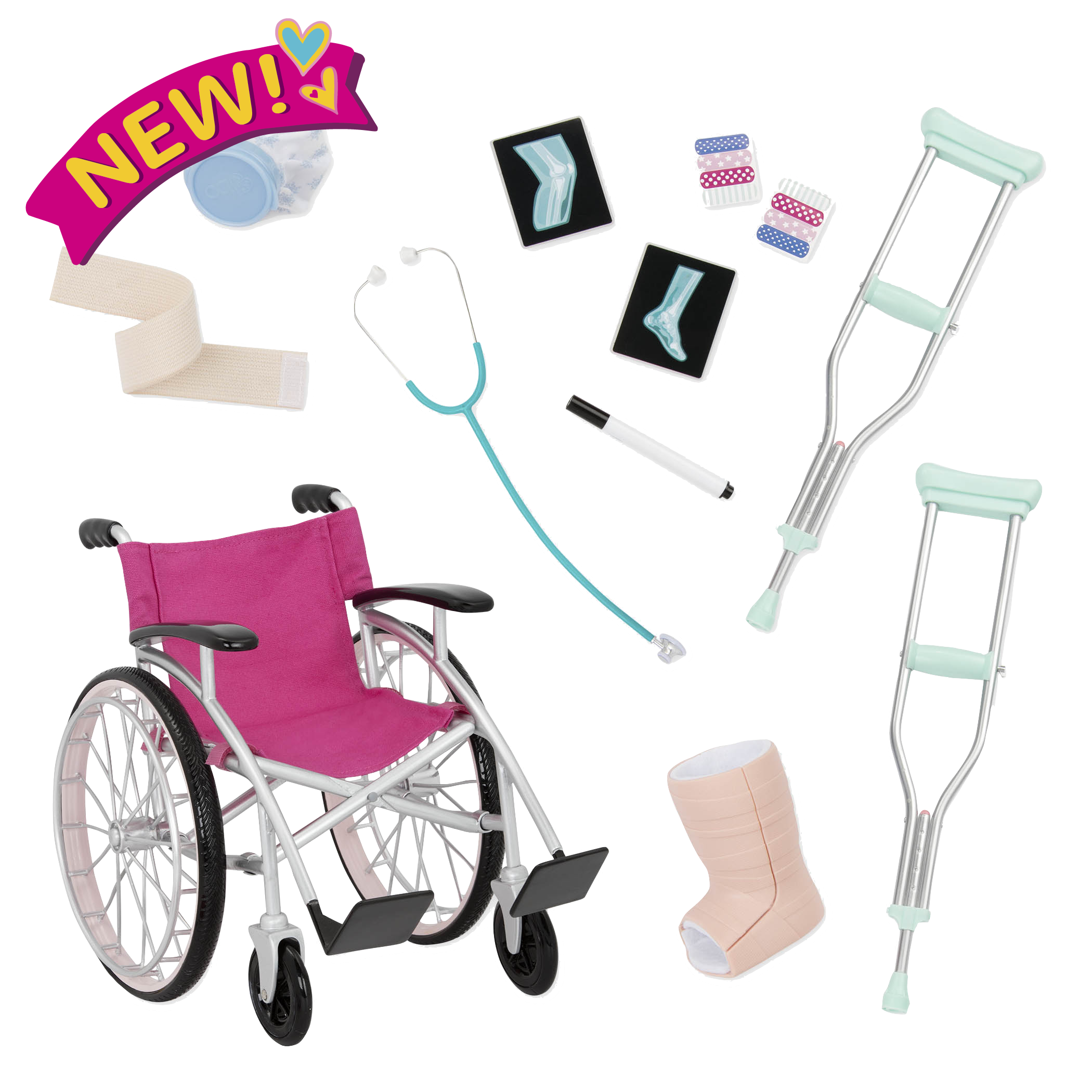 Heals on Wheels Wheelchair Set for 18-inch Dolls