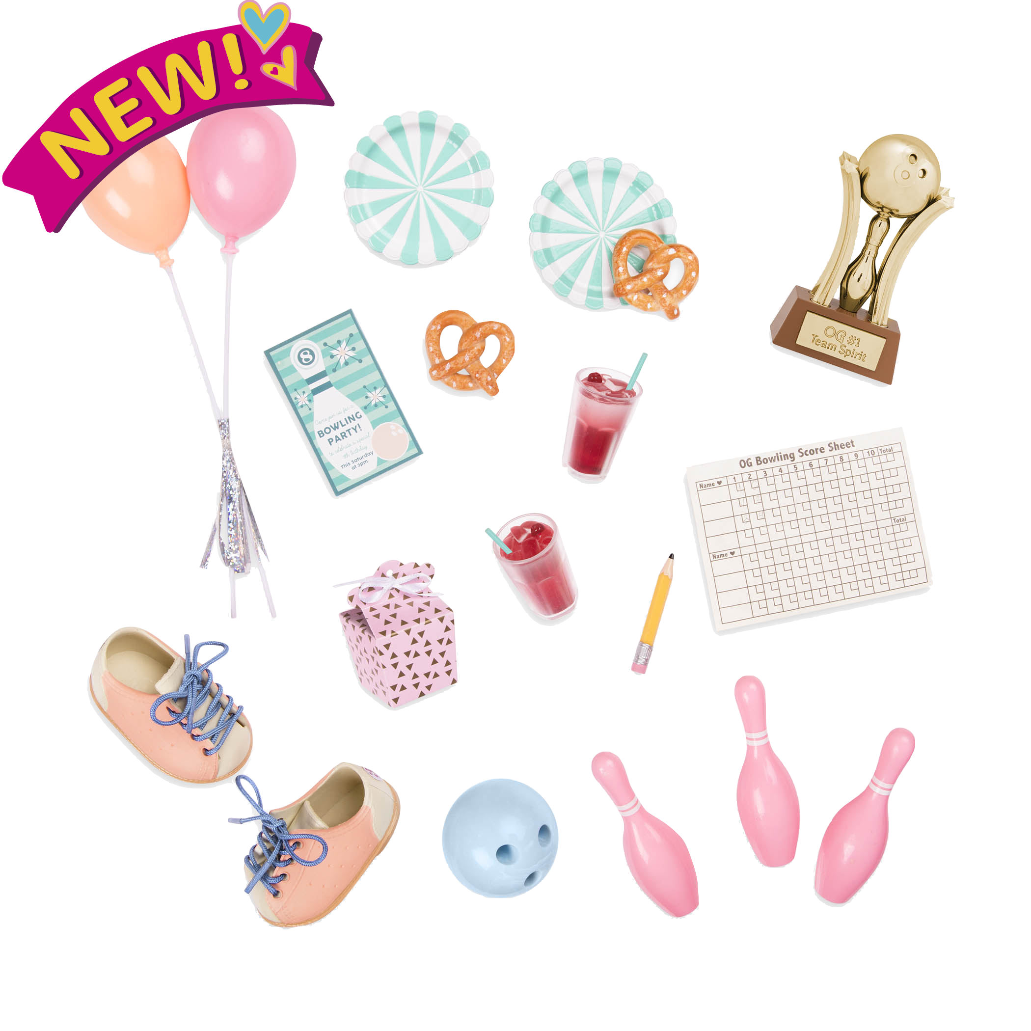 OG Bowling Party Accessories for 18 inch Dolls
