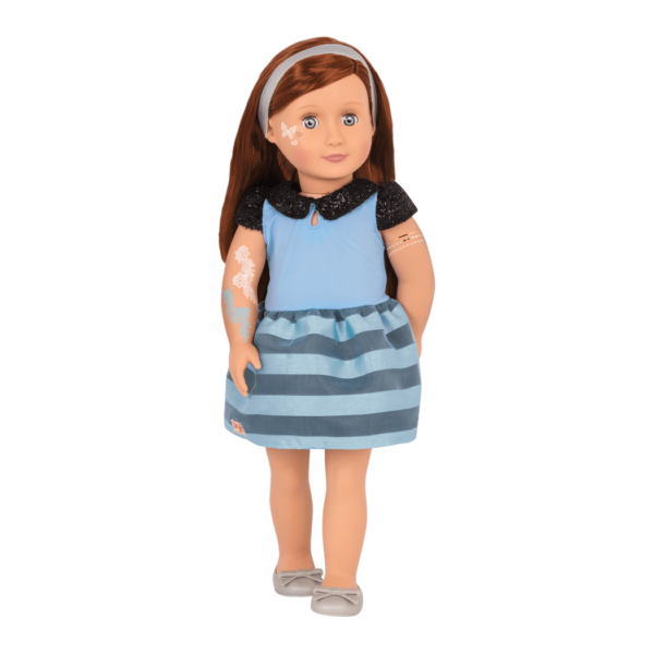 Alessa front view with glitter tattoos and blue dress