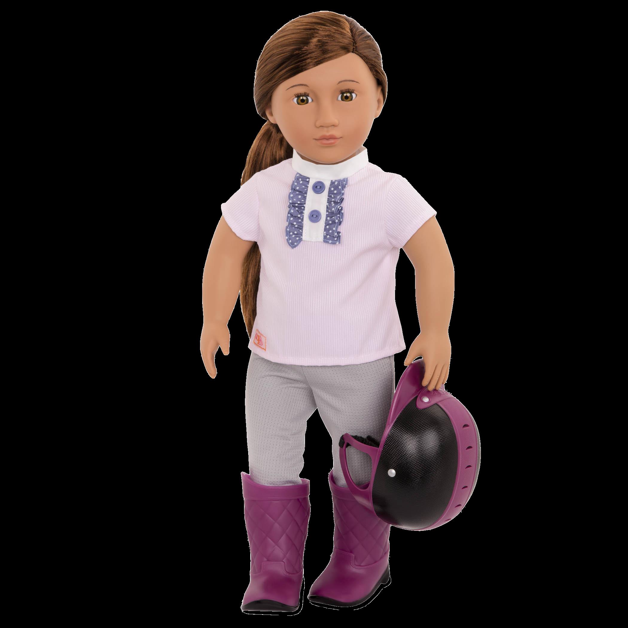 Elliana holding helmet